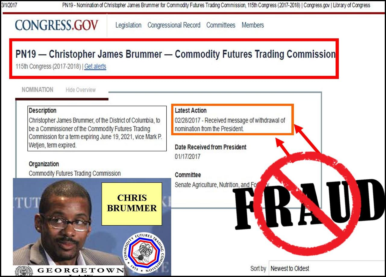 Stephen Rex Brown, NY Daily News reporter, Exposes Chris Brummer, Georgetown Law Professor, Trump Withdraws CFTC nomination, Rachel Loko, Nicole Gueron, Whitney Gibson, Vorys fraud